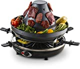 Gourmia GEG1400 Electric Raclette - Table-Top Party Grill - 6 person - Vertical Grilling Sombrero - 6 Cheese Melting Spatula Pans - Non Stick- Great gift Idea- FREE Recipe Book