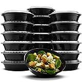 Paksh Novelty RND24OZ16PK Lunch Box Sets/Round Large Food Container with Lid for Meal Prep, Microwaveable, Freezer & Dishwasher Safe, Leak Proof, 24 Ounce, 20 Pack, Black-BK09