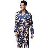 ZUEVI Men's Classic Silk Chinese Dragon Pajamas Set Sleepwear(Blue Dragon-XS)
