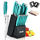 Knife Set, AILUKI 19 - Piece Kitchen Knife Set with Block Wooden and Sharpener, Professional High Carbon German Stainless Steel Chef Knife Set, Ultra Sharp Full Tang Forged White Knives Set