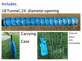 Rise8-Studios-Dog-Agility-Tunnel-Pet-Training-Equipment-Rip-and-Tear-Resistant-Includes-Carry-Bag-and-Ground-Stakes-Made-of-420D-Polyester-24-Diameter-18-Long