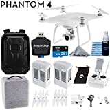 DJI Phantom 4 Quadcopter 4K Video 12mp Camera Drone + Backpack + Starter Bundle with 2 Batteries