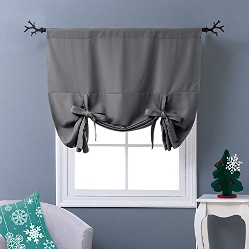NICETOWN Thermal Insulated Blackout Curtain - Grey Tie Up Shade for Small Window, Window Valance Balloon Blind (Rod Pocket Panel, 46' W x 63' L)