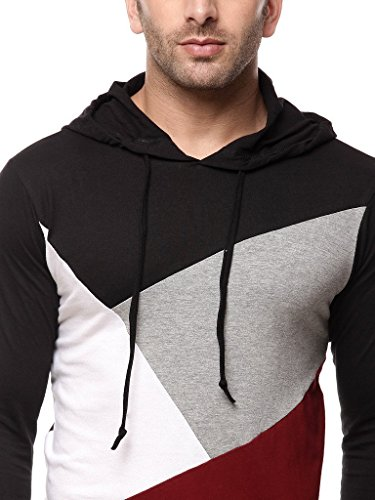 GRITSTONES-Men-Cotton-BlackMaroon-Hooded-T-Shirt