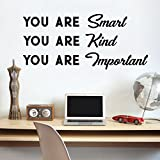 Vinyl Wall Art Decal - You are Smart You are Kind You are Important - 16' x 36' - Motivational Quote Words Teen Boy Girl Bedroom Living Room Home Office Decor - Trendy Modern Wall Sticker Decals