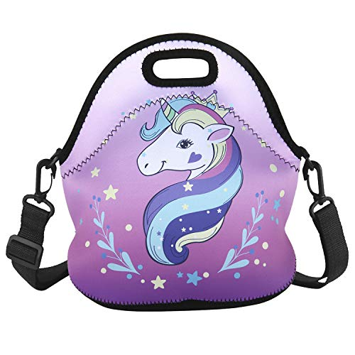 Cute Unicorn Lunch Bag Purple Thermal Insulated Neoprene Lunch Tote with Adjustable Detachable Strap for School Travel Picnic Office