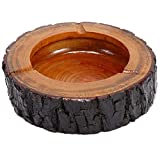 Teagas 5.5' Round Original Wooden Cigarette Ashtray Outdoors and Indoors Ash Tray