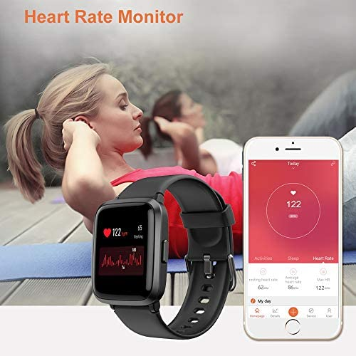 YAMAY Smart Watch 2020 Ver. Watches for Men Women Fitness Tracker Blood Pressure Monitor Blood Oxygen Meter Heart Rate Monitor IP68 Waterproof, Smartwatch Compatible with iPhone Samsung Android Phones 6