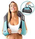 Shiatsu Back Shoulder & Neck Massager with Heat - Deep Tissue 3D Kneading Pillow Massager for Neck, Back, Shoulders, Foot, Legs - Electric Full Body Massage, Relieve Muscle Pain - Home & Car (Blue)