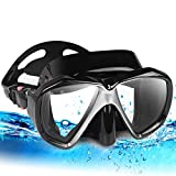 Snorkel Diving Mask Set, Panoramic HD Scuba Swim Mask, Tempered Anti-Fog Lens Glasses Snorkel Goggles, Scuba Dive Snorkel Mask with Silicone Skirt Strap for Dry Snorkeling, Swimming (Black)