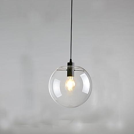 E27 Industrial Clear Glass Globe Black Shade Pendant Light Modern Kitchen Opening Hanging Lamp 1 Light O25 0 25cm Amazon Com