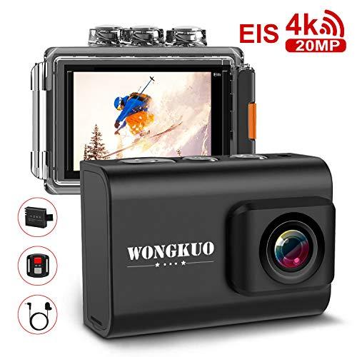 WONGKUO Action Camera WiFi Sport Camera 4K 20 MP with EIS 100ft Waterproof Camera