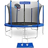 SONGMICS USTR15BU Outdoor Trampoline 15-Feet for Kids with Basketball Hoop and, Blue Black