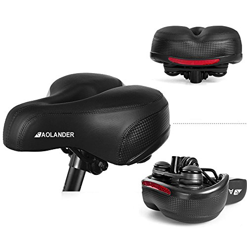Aolander Bicycle Saddle with DUAL SHOCK ABSORBING BALL Most Comfortable Leather Bike Seat Memory Foam Padded Giant Bicycle Seat Men Women New Look MTB Road City Bike Saddle with LIFETIME WARRANTY