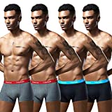 Robesbon Men's No Ride up Boxer Briefs Long Leg Underwear Low Rise Trunks with Pouch Small