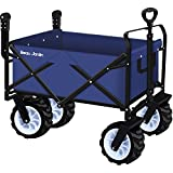 Folding Push Wagon Cart Collapsible Utility Camping Grocery Canvas Fabric Sturdy Portable Rolling Lightweight Beach Sand Buggies Outdoor Garden Sport Picnic Heavy Duty Shopping Cart Wagons With Wheels