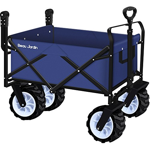 Folding Push Wagon Cart Collapsible Utility Camping Grocery Canvas Fabric Sturdy Portable Rolling Lightweight Buggies Outdoor Garden Sport Picnic Heavy Duty Shopping Cart Wagons With Wheels
