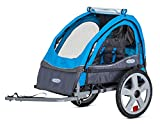 InStep Sync Single Seat Foldable Tow Behind Bike Trailers, Featuring 2-in-1 Canopy and 16-Inch Wheels, for Kids and Children, Blue