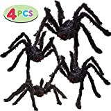 Four Halloween Realistic Hairy Spiders Set, Valuable Halloween Props, Halloween Spider Set for Indoor and Outside Decorations (One 47.25', Two 35.5', and One 29.5')