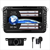 Car Stereo HD 8 Inch Double 2 Din GPS Navigation DVD auto Audio Video for VW Golf Passat Tiguan Polo Jetta Skoda Seat EOS+US Map+Camera+Mic Capacitive Screen (VW 8inch)