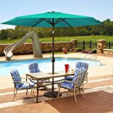 MOVTOTOP Patio Umbrella 9Ft UPF 50+ Premium Outdoor Table Umbrella, Market Umbrella with Push Button Tilt and Crank for Garden, Deck, Backyard, Pool (Green)