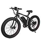 ECOTRIC Fat Tire Electric Bike Beach Snow Bicycle 26' 4.0 inch Tire Aluminum Ebike Powerful 500W Motor Electric Mountain Bicycle 36V/12AH Lithium Battery (Black)