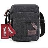 Zicac Men's Retro Small Canvas Cross Body Messenger Bags Satchel Bag (Black)