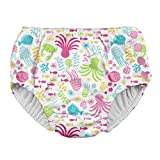 i play. by green sprouts Girls' Toddler Snap Reusable Absorbent Swimsuit Diaper, White Sea Pals, 3T