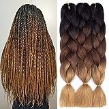 Ombre Kanekalon Braiding Hair 3 Pack Ombre Jumbo Braiding Hair Extensions 24 Inch Jumbo Braid Synthetic Hair for Braiding (Black-Dark Brown-Light Brown)