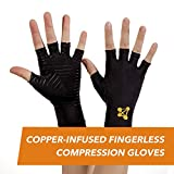 CopperJoint - Copper-Infused Fingerless Compression Gloves, Designed to Support Enhanced Performance, Rapid Recovery and Pain Relief for All Lifestyles, Pair (Small)