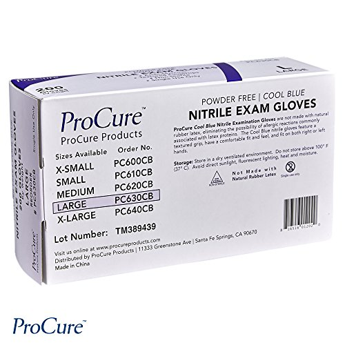 ProCure Disposable Nitrile Gloves – Powder Free, Rubber Latex Free, Medical Exam Grade, Non Sterile, Ambidextrous – Soft with Textured Tips – Cool Blue (Large, 1 Pack, 200 Count) deal 50% off 51mLde8DhvL