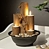 Alpine Corporation Pouring Tiers Tabletop Fountain with 3 Candles - Zen Indoor Decor for Office, Living Room, Bedroom - 11 Inches