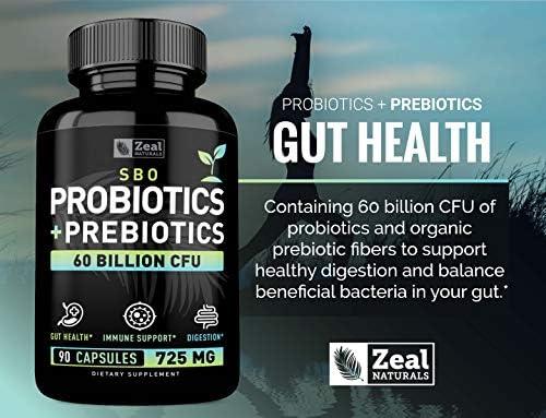 Probiotics and Prebiotics + SBO Probiotics (60 Billion CFU   90 Capsules) Acidophilus Probiotic w. Saccharomyces Boulardii, Bifidobacterium + Spore Probiotic & Organic Sprouted Prebiotic Fiber Blend 6