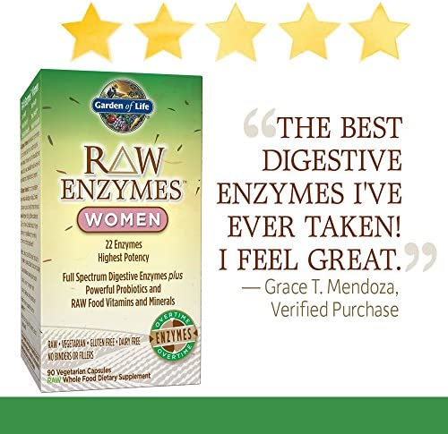 Garden of Life Vegetarian Digestive Supplement for Women - Raw Enzymes for Digestion, Bloating, Gas, and IBS, 90 Capsules 4