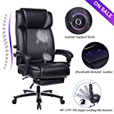 VANBOW Big and Tall Reclining Leather Office Chair - Metal Base High Back Executive Computer Desk Chair with Adjustable Built-in Lumbar Support, Angle Recline Locking System and Footrest, Black