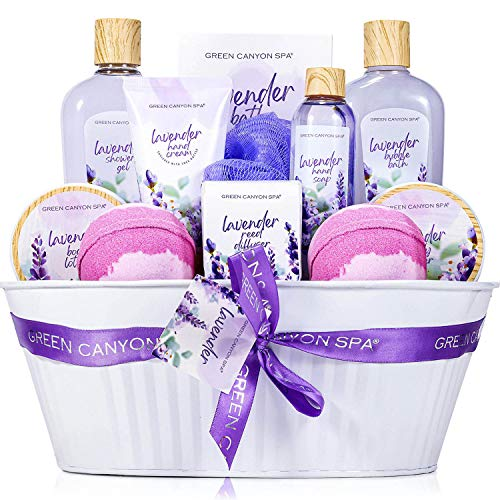 Spa Gift Baskets for Women – 12 Pcs Lavender Scent Bath Set Including Shower Gel Reed Diffuser Bubble Bath, Lovely Women Gifts Box for Birthday Valentine's Day