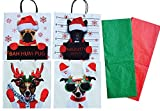 Dog Lover Christmas Gift Bag Wrapping Set with Tissue Paper