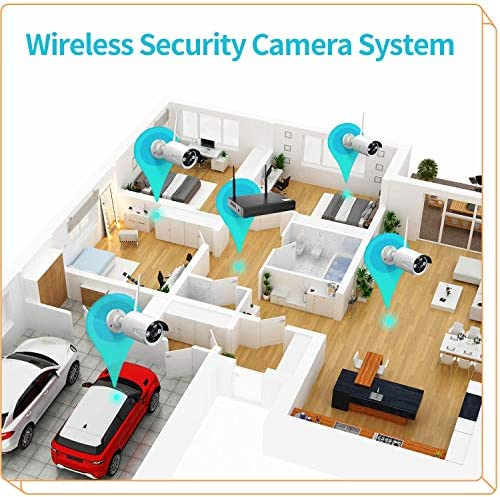HeimVision HM241 Wireless Security Camera System, 8 Channel NVR 4Pcs 1080P Home WiFi Security Camera Outdoor with Night Vision, Waterproof, Motion Alert, Remote Access, No Hard Disk