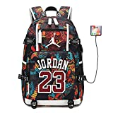 Basketball Player Star Jordan Multifunction Backpack Travel Student Backpack Fans Bookbag for Men Women (Style 6)