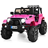 Costzon Ride On Truck, 12V Battery Powered Electric Ride On Car w/ 2.4 GHZ Bluetooth Parental Remote Control, LED Lights, Double Doors, Safety Belt, Music, MP3 Player, Spring Suspension (Pink)