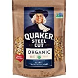 Quaker Organic Steel Cut Oatmeal, Breakfast Cereal, Non-GMO Project Verified, 20 Ounce Resealable Bags, 4 Bags
