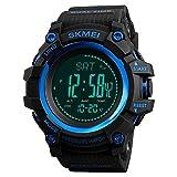 Compass Watch Army, Digital Outdoor Sports Watch for Men Women, Pedometer Altimeter Calories Barometer Temperature Waterproof (Blue)