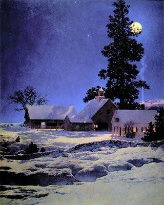"Amazon.com: ""Moonlight Night"" BIG Maxfield Parrish Art Deco Print: Posters  & Prints"