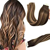 Googoo 20pcs 50g Tape in Hair Extensions Ombre Chocolate Brown to Caramel Blonde Remy Human Hair Extensions Balayage Seamless Tape Hair Extensions Natural Hair 18inch