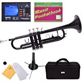 Mendini MTT-PL Purple Lacquer Brass Bb Trumpet + Tuner, Case, Stand, Mouthpiece, Pocketbook & More