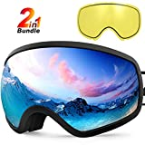 Zionor X10 Ski Snowboard Snow Goggles OTG for Men Women Youth Anti-Fog UV Protection Helmet Compatible (VLT 17% Black Frame Black Lens)