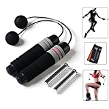 CyberDyer Weighted Ropeless Jump Rope Tangle Free Crossfit Speed Rope for Endurance Training Boxing MMA Suitable for You and Your Kids (Black)