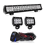 20 INCH LED Light Bar 2PCS 4Inch Spot Pods Cubes with Rocker Switch Wiring Harness for Jeep Ford F150 Toyota Tacoma GMC Chevy ATV,1Years Warranty
