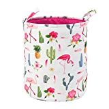Toy Storage Organizer Bins,LIVEBOX Baby Laundry Basket Cotton Canvas with Handle for Kid's Room Baby Nursery Hamper Bins Boxes Dog (FlamingoCactus)
