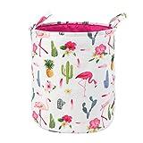 Toy Storage Organizer Bins,LIVEBOX Baby Laundry Basket Cotton Canvas with Handle for Kid's Room Baby Nursery Hamper Bins Boxes Dog (FlamingoCactus)